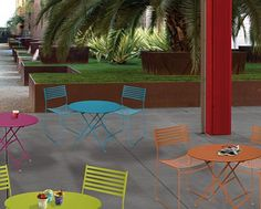 Caluco Outdoor Furniture: Vivir collection in cast aluminum, available in 11 colors. Functionality and lightness are the key design elements of this colorful collection. This simple and extremely durable chairs and tables system is ideal for a small terrace as to accommodate hundreds in a restaurant. Cast aluminum outdoor furniture solution for contract, commercial, residential projects.