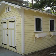 Livable shed design ideas are now shedtastic. Colorful shed design ideas by Historic Shed break the mold. Livable sheds plans like a guest cottage, studio Craftsman Sheds, Craftsman Bungalows, Craftsman Style, Craftsman Cottage, Shed Building Plans, Diy Shed Plans, Barn Plans, Outdoor Pergola, Pergola Plans