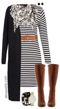 Plus Size Striped Dress Outfit I know It's such a classic look. It would even work with a striped dress. Just add a sweater. Side note: I love this handbag for this outfit. Mode Outfits, Casual Outfits, Dress Casual, Formal Dress, Casual Friday Work Outfits, Casual Wear, Cheap Outfits, Black Outfits, Formal Wear