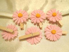 Holzklammer, Dekoklammer mit Margeriten Blüte,Rosa,Bastelmaterial,6 Stück