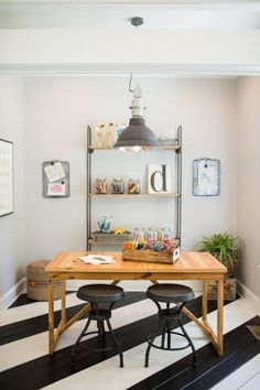 The kids play/craft room was created with their three kiddos in mind. It was important to the couple that the kids had a place to call their own, so we transformed it into a clutter-free work environment for them to play and create. Th