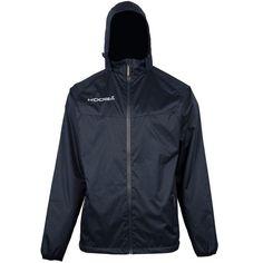 KooGa Junior Boys Elite Barrier Jacket (XL) (Navy). All weather, full zip jacket with packaway hood. Microfiber body lining. Zip pockets. 40 Degree machine wash. Fabric: 100% Polyester ripstop outer, Microfiber body lining, Polyester taffeta sleeve lining.