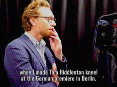 """My favorite Loki moment was actually when I made Tom Hiddleston kneel at the German premiere in Berlin"" (#TomHiddleston Surprises Fans Dressed As #Loki: https://www.facebook.com/marveluk/videos/1495992563861015/) #InfinityWar"