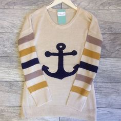 Anchors Away Adorable Striped Sweater New! Adorable oversized anchor knit sweater. Sweaters Crew & Scoop Necks