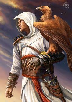Altair portrait with golden eagle by MiryAnne on DeviantArt