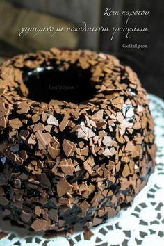 Σοκολατένιο κέικ καρότου, γεμισμένο με τρουφάκια ⋆ Cook Eat Up! Greek Recipes, Sweet Desserts, Tiered Cakes, Bagel, Doughnuts, Birthday Cake, Sweets, Bread, Candy