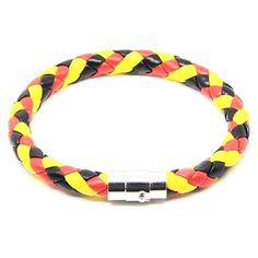 Germany Flag Color Red yellow black Braided Pattern Handmade PU Leather Bracelet With Magnetic Clasp Sport Promotion Gifts Braided Bracelets, Bracelets For Men, Bangle Bracelets, Leather Bracelets, Bangles, Braided Leather, Pu Leather, Belgium Flag, Blue Topaz Ring