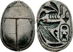 https://flic.kr/p/cPiePb | A Fine Egyptian New Kingdom Steatite Scarab, Superb Hieroglyphics on the Base | New Kingdom. Circa 1550-1075 BC. Steatite scarab (16x11mm). Base engraved with edge and bee signs at top (King of Upper and Lower Egypt) and, below, a falcon with open wings to protect a cartouche of Kheper-Re. Cf. Matouk I, 818. Small chip on edge, otherwise intact, a few traces of green glaze, pierced for mounting. Attractively carved.  From the Dr. John N. Winnie Collection…