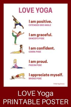 Practice these eighteen heart-opening Valentine's Day Yoga postures to help release emotions and build self-confidence. Adaptable for all ages. - 18 Heart-Opening Valentine's Day Yoga Poses for Kids (Printable Poster) - Kids Yoga Stories Kids Yoga Poses, Yoga Poses For Beginners, Yoga For Kids, Exercise For Kids, Yin Yoga, Yoga Meditation, Yoga Flow, Yoga Inspiration, Chico Yoga