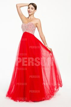 Chic Strapless Tulle A Line Red Long Prom Dresses