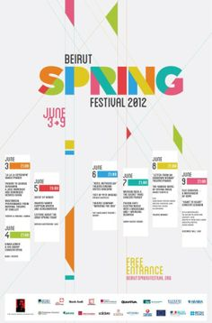 The design and modernized grid layout of the Beirut Spring Festival 2012 Program is something I find inspiring on multiple levels. Placing the information boxes in a pattern, yet still on a grid, makes the eye flow smoothly through the entire poster, and gives a youthful update to the standard grid layout.