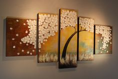 "Large White Sakura Flower Original Acrylic Painting 70"" by Pallete Knife, Beige Yellow Teal Pentaptych Textured Canvas Wall Hanging Tree Art"