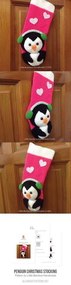 Penguin Christmas Stocking Crochet Pattern for purchase