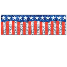 The Metallic Stars and Stripes Fringe Banner makes a great embellishment for any Patriotic Party! #patriotic #banner