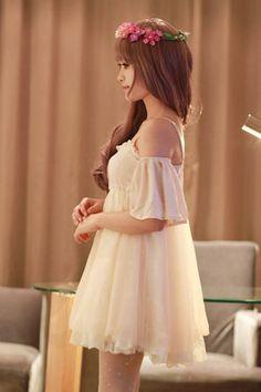 Lace Hem Flounce Design Off-The-Shoulder Shoulder-Straps Chiffon Dress
