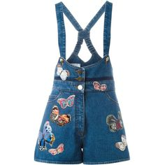 Valentino butterfly embroidered dungarees (32 145 ZAR) ❤ liked on Polyvore featuring jumpsuits, blue, plunging neckline jumpsuit, blue jumpsuit and valentino jumpsuit