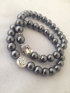 Hematite Endless Knot & Buddha Bracelet Set - Get 1 or Both - Custom Sizes Available