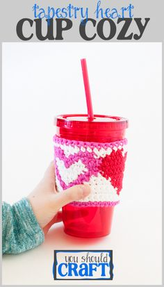 Protect your fingers and use our free pattern and photo-tutorial to crochet a reusable cotton cup cozy with an adorable heart pattern -- perfect gift for Valentine's Day or any day. Just say no to those cardboard sleeves at the coffee shop and crochet your own DIY heart cozy. Click to make now or pin for later!