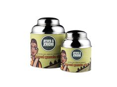 Jeeves & Jericho's Spiced Masala Chai tea tin ... artwork of Indian woman in sari on label, cylinder shape with sloping shoulders, dome cap lid, c. 2016, UK