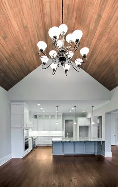 The wood lined ceiling in the keeping room is likely one of our favorite elements of our newest semi-custom home in Dunwoody.