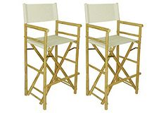 Outdoor High Directoru0027s Chairs, Pair*