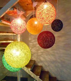Luminárias com corda de sisal