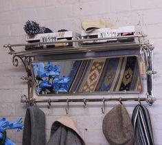 Maravi Train Rack with Mirror 7 Hook Coat Hanger