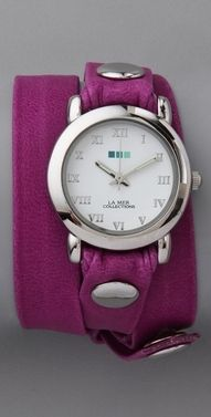 d1e5e0843 La Mer Collections Neon Simple Wrap Watch in silver/pony pink via shopbop