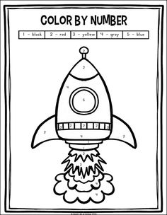 Outer Space Preschool and Kindergarten Math Worksheets Packet Color by number rocket coloring page (from the free outer space preschool and kindergarten math worksheets packet on Real Life at Home) Preschool Rocket, Space Crafts Preschool, Outer Space Crafts For Kids, Space Activities For Kids, Planets Preschool, Rocket Math, Rocket Craft, Free Activities, Kids Crafts