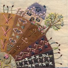Beautiful stitching. ;little house and tree with lots of lovely seam work