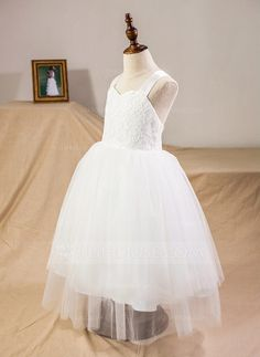 Ball Gown Tea-length Flower Girl Dress - Satin/Tulle/Lace Sleeveless Straps With Bow(s) (010094098) - Flower Girl Dresses - JJ's House