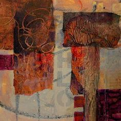 """Mixed Media Artists International: Abstract Mixed Media Collage Art Painting """"Layers-2"""" by Colorado Mixed Media Abstract Artist Carol Nelson"""
