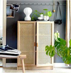 Trendy wicker cupboard made from a Billy bookcase from Ikea. - Ikea DIY - The best IKEA hacks all in one place Billy Regal Hack, Billy Ikea Hack, Ikea Billy Bookcase Hack, Billy Bookcase With Doors, Ikea Deco, Diy Casa, Best Ikea, Deco Design, Ikea Hacks