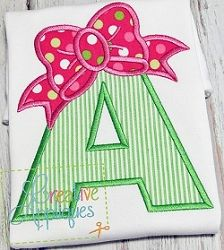 Bow Applique Alphabet Set - 3 Sizes! | What's New | Machine Embroidery Designs | SWAKembroidery.com Creative Appliques
