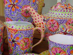 A spot of tea anyone? These are hand painted.