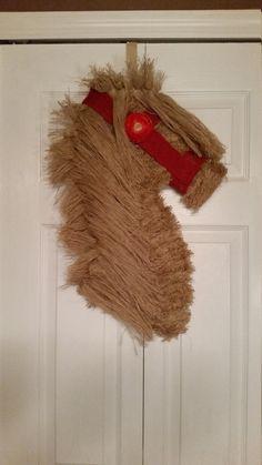 Burlap Horse Head Wreath Horse Wreath Deco by WreathsbyCrazyLady