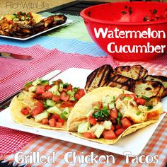 Gluten Free Dairy Free Watermelon Cucumber Grilled Chicken Tacos for a refreshing summer twist on a classic mexican dish!