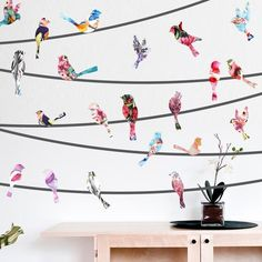 Watercolor Birds on a Wire Mount Wall Decals behind chair More