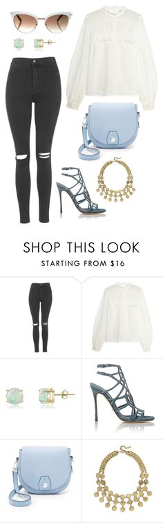 """""""Untitled #9821"""" by beatrizibelo ❤ liked on Polyvore featuring Topshop, self-portrait, Glitzy Rocks, Sergio Rossi, rag & bone, BaubleBar and Gucci"""