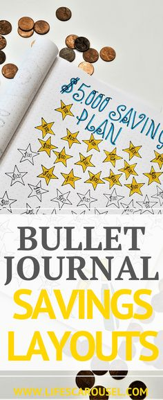 Bullet Journal Savings Tracker & More | Awesome ways to use your bullet journal to manage your budget, as a savings tracker, money layouts, spending log spread and more. Get your finances in order with your Bujo!