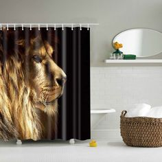 3D Lion Pattern Bathroom Waterproof Shower Curtain - COLORMIX L $18.97