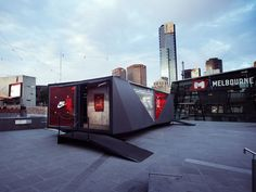 Portable experience to launch and promote the latest Nike Tech Pack fleece collection in Australia. Facade Design, Architecture Design, Mobile Architecture, Nike Retail, Temporary Structures, Container Design, Container Store, Container Homes, Experiential Marketing
