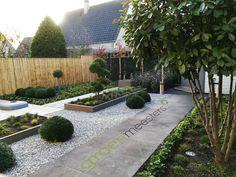 Een onderhouds-extensieve tuin met maatwerk plantenbakken. Meerstam is een Photinia fraseri 'Red Robin' #Modern #Tuinontwerp #Tuin #Garden #Meerstam Photinia Fraseri Red Robin, Sidewalk, Porches, Side Walkway, Walkway, Walkways, Pavement