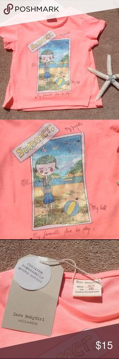 Zara Baby Summertime Tee This cute bright coral t shirt is made from a super soft cotton. Features a glittery snapshot vacation photo on the front. Snap closure on the top of shoulder for easy on and off. Zara Shirts & Tops Tees - Short Sleeve