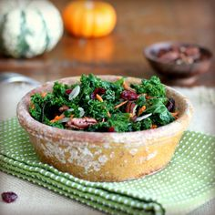 Winter Kale Salad (Kale (Blanched for 20 Seconds and Well Dried), Shredded Carrots, Cranberries, Toasted Pecans, Red Onion, Dressing (Apple Cider Vinegar, Salt, Pepper, Olive Oil, Honey))