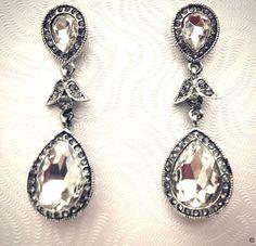 Mona Earrings wedding accessoriesevening by DreamcatcherStudio, $42.00  #vintage #jewels #jewelry #crustal #silver #elegant #sophisticated