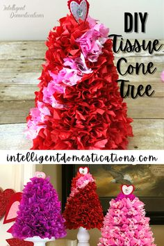 How to make a tissue paper cone tree for Valentine's tabletop decor. Use these as a centerpiece on your Valentine's dinner table. Super easy and simple to make with few craft supplies. Easy photo tutorial. Dollar Store Crafts, Dollar Stores, Cone Trees, Paper Cones, Diy Games, Photo Tutorial, Valentines Diy, Dinner Table, Tissue Paper