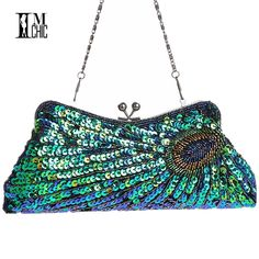 Online Shop Vintage Peacock Pattern Women Evening Bags Sequins Beaded Mini  Chain Handbag Luxury Party Clutch Wedding Gifts Bridal Purse a326646522140