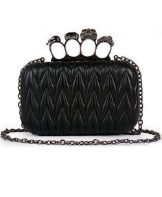 Black Knit Skull Ring Clutch