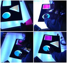 Hace un par de semanas en Utilizar la mesa de luz Ios conté como es nuestra mesa de luz,como la hicimos, otras formas de hacerla y como la utilizamos para aprender cosas de forma divertida y sobre… Reggio Emilia, Waldorf Montessori, Reggio Children, Lead Boxes, Messy Play, Shadow Play, Kids Lighting, Sensory Activities, Sensory Play